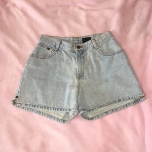 Washed Out Denim High Waisted Shorts